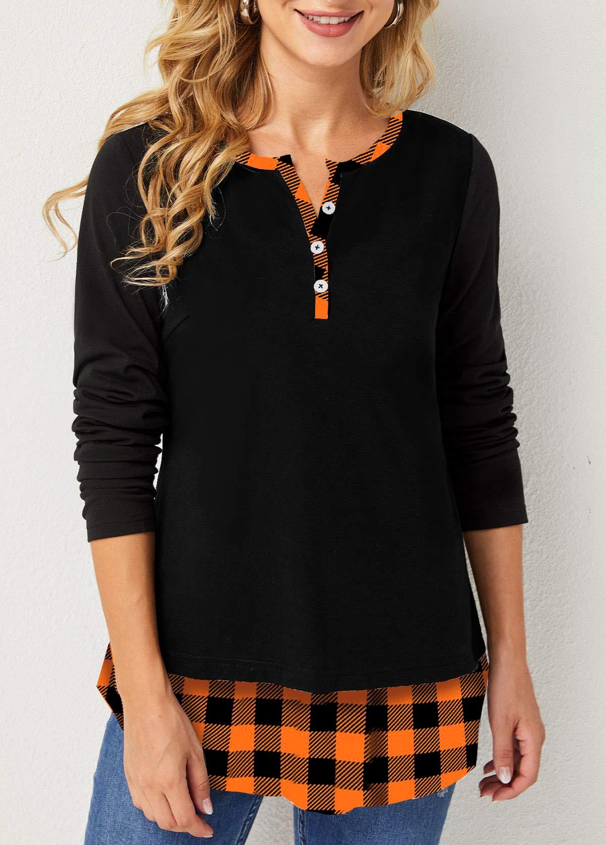 Plaid Split Neck Decorative Button T Shirt