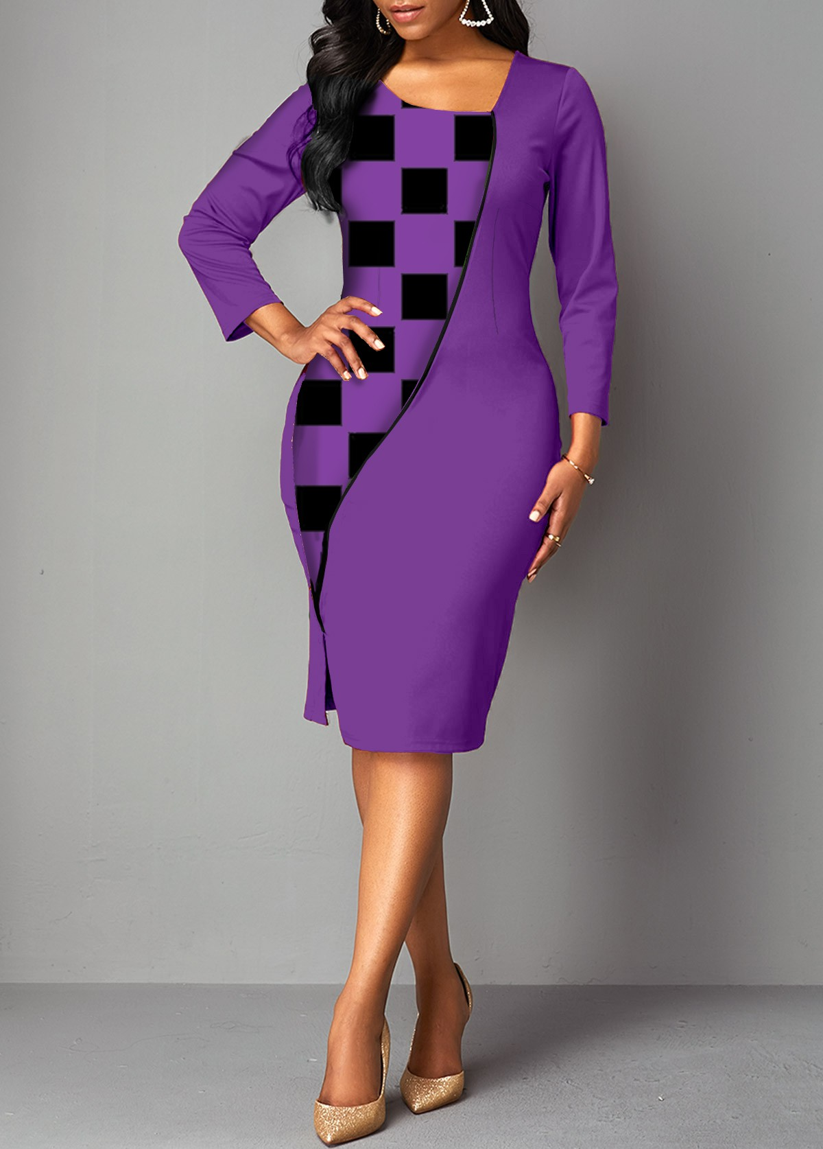 3/4 Sleeve Asymmetrical Neck Plaid Dress