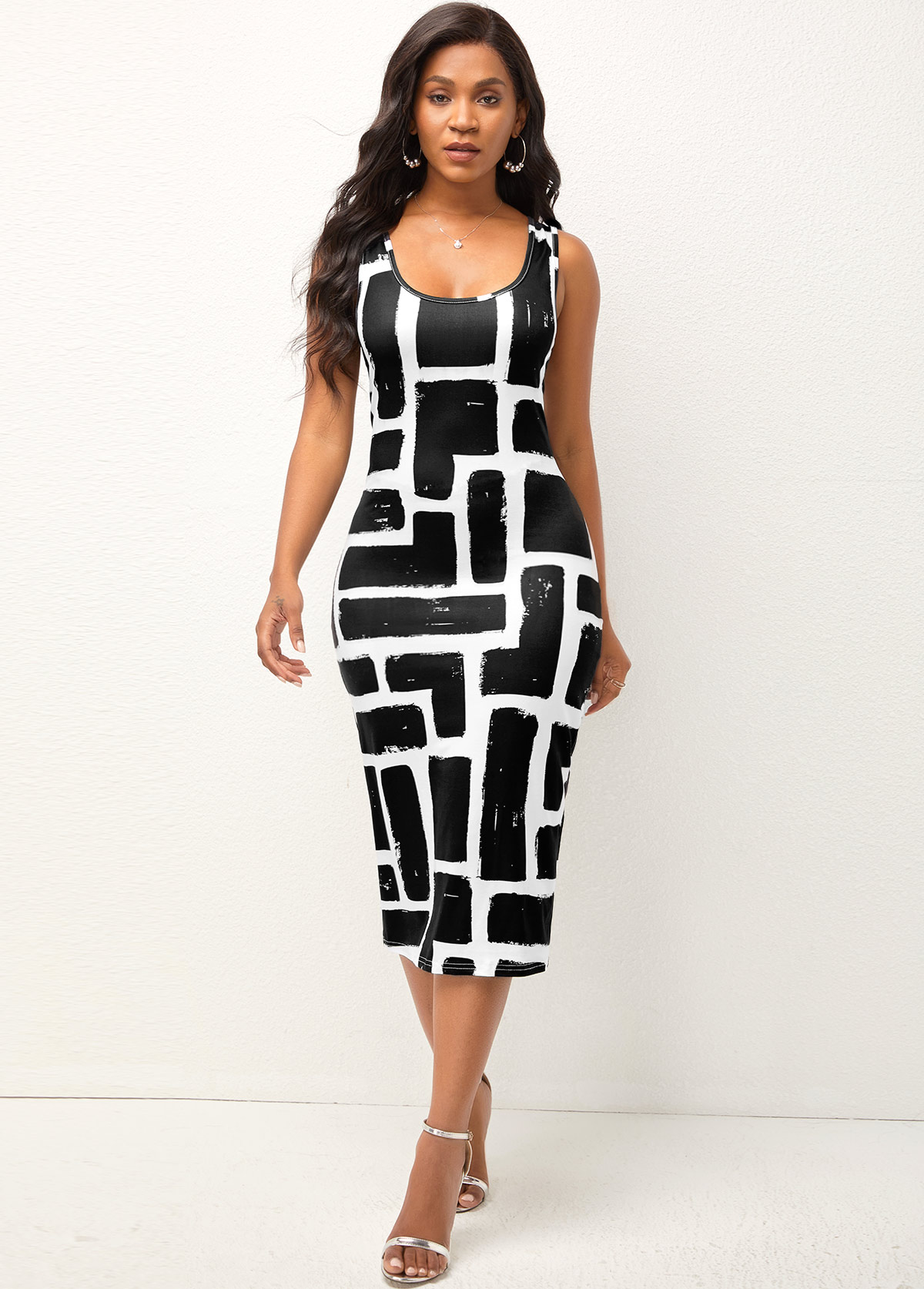 Geometric Print Wide Strap Bodycon Dress