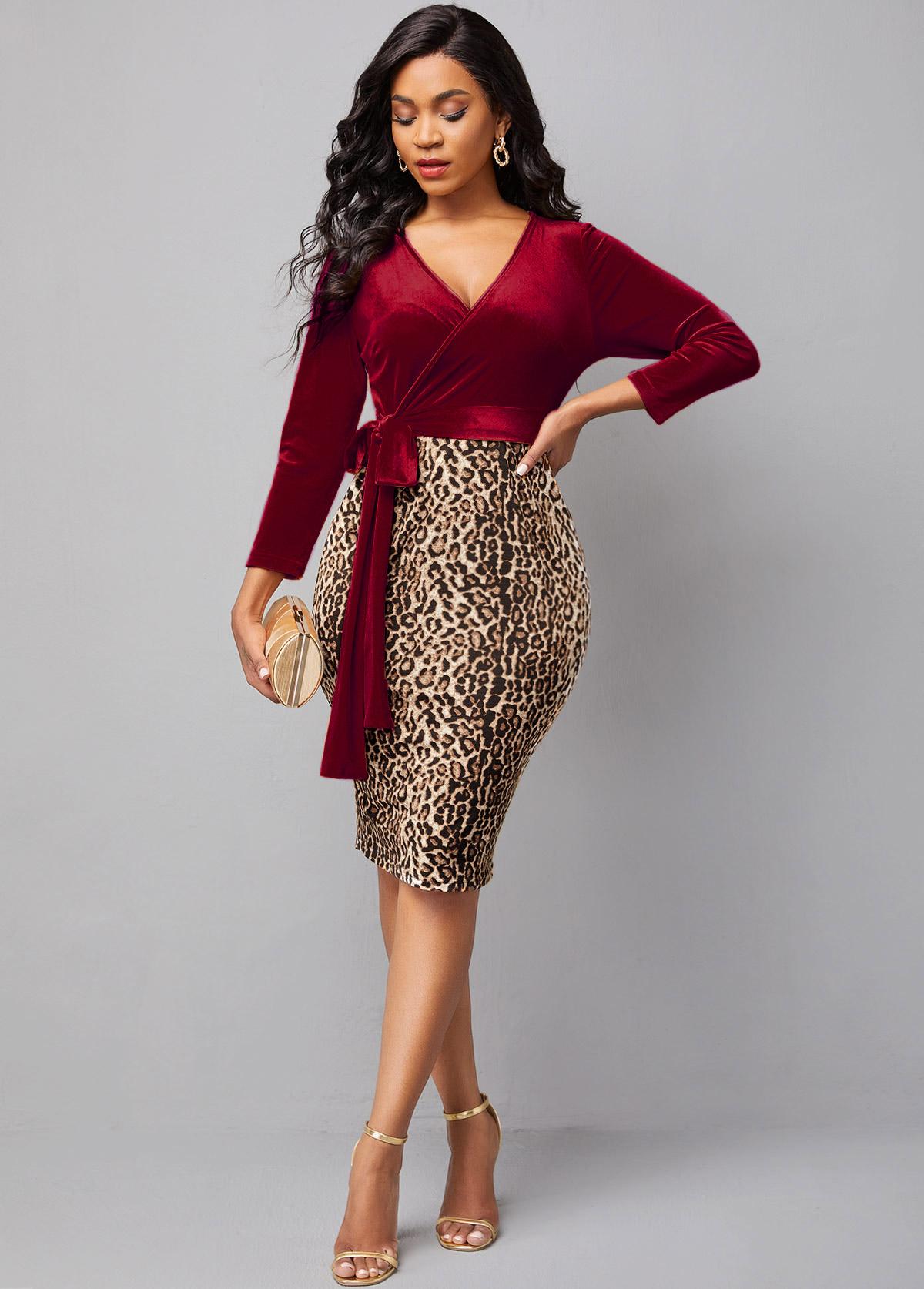 Velvet Leopard Cross Front Tie Side Dress
