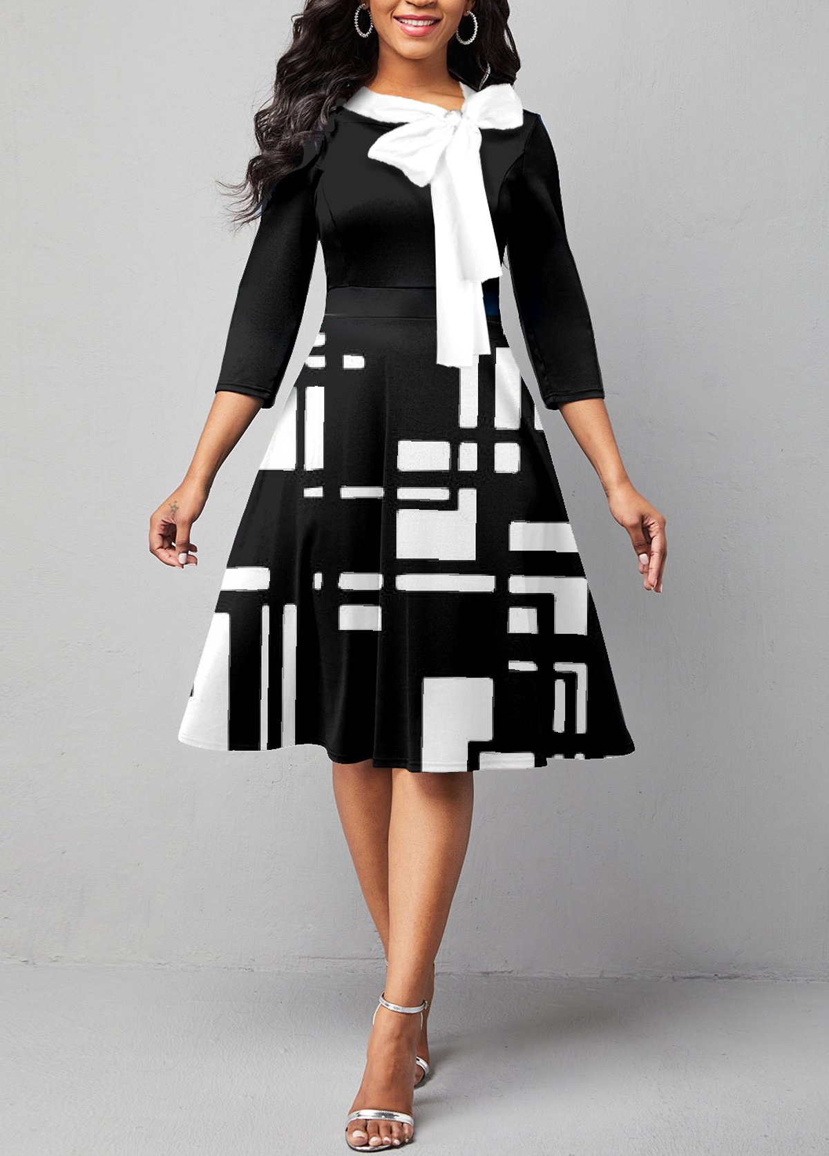 Tie Neck 3/4 Sleeve Geometric Print Dress