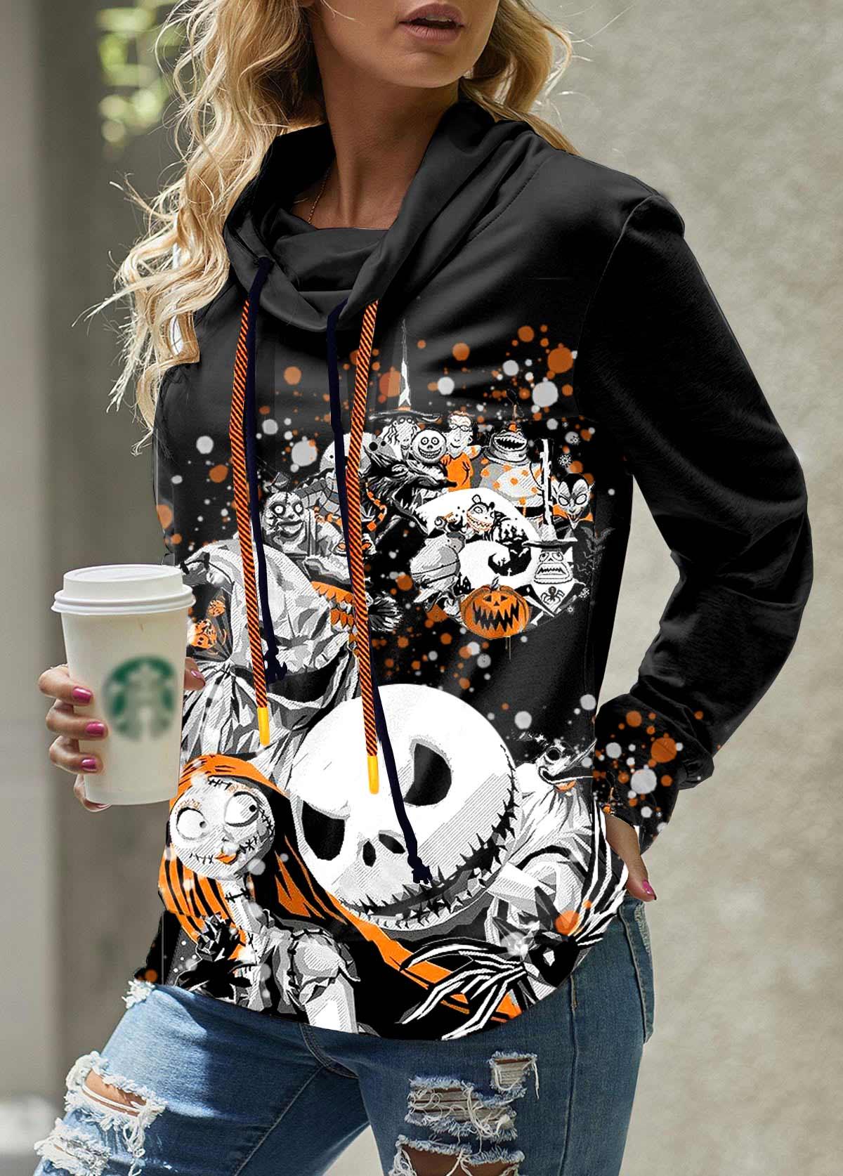 Skull Print Cowl Neck Drawstring Detail Sweatshirt