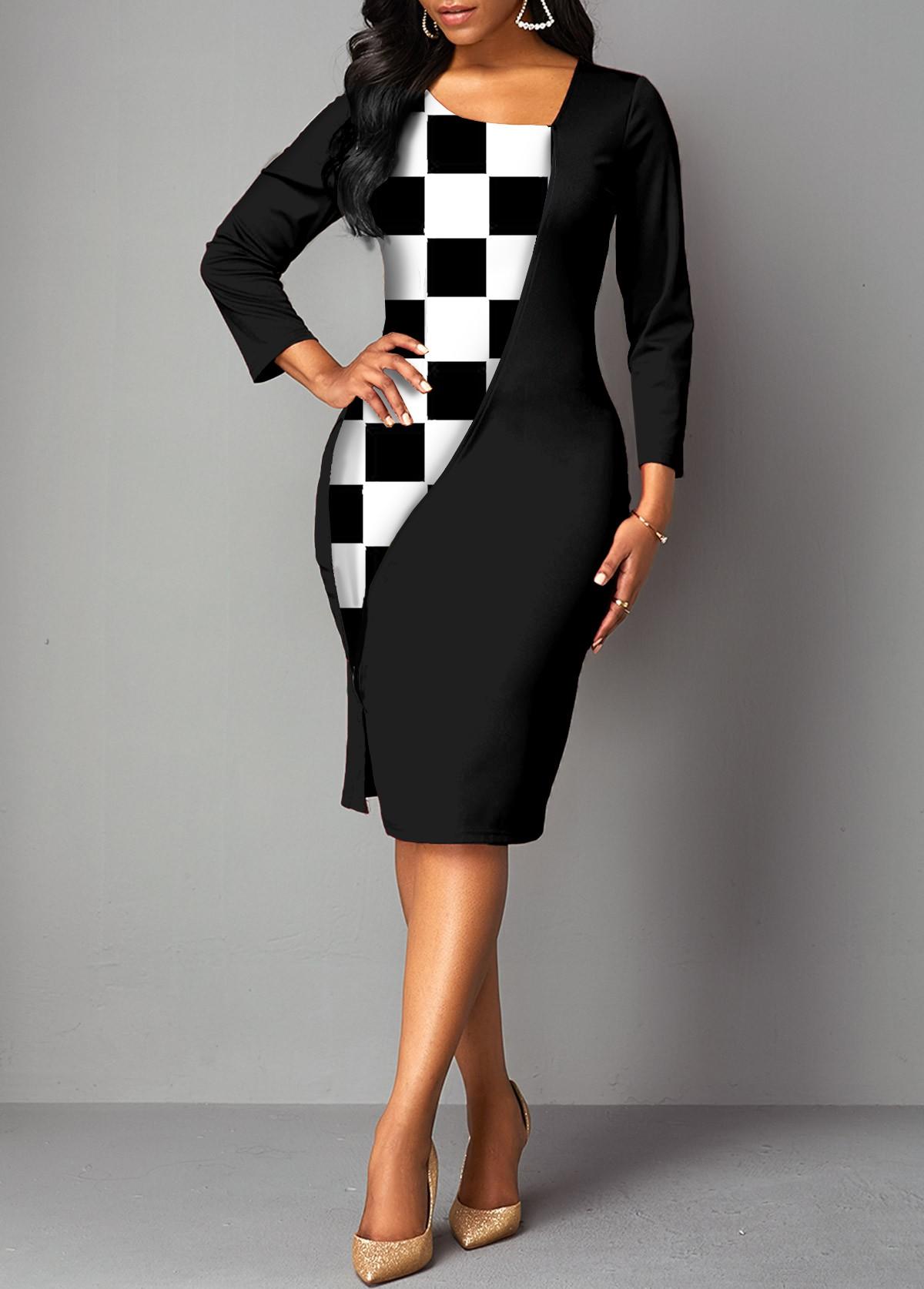 Checkered Asymmetric Neck 3/4 Sleeve Dress