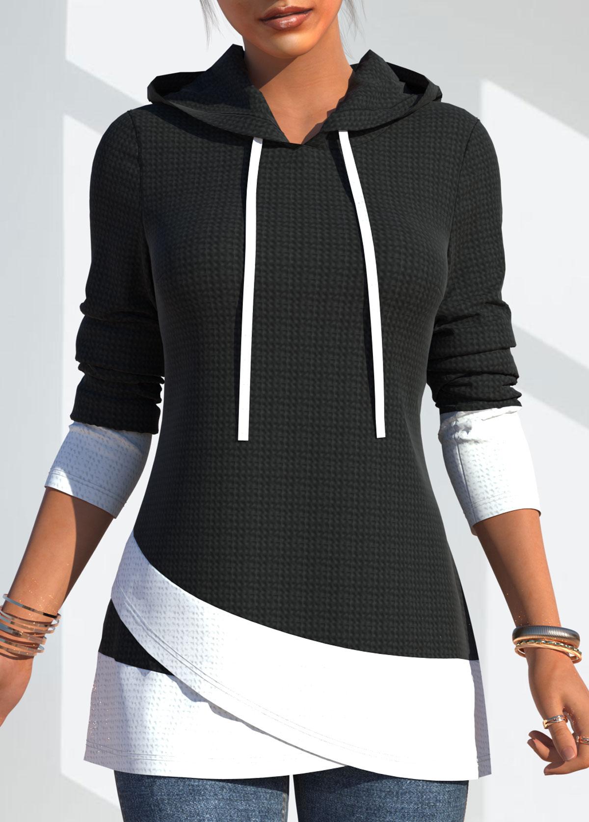 Drawstring Detail Contrast Long Sleeve Hoodie