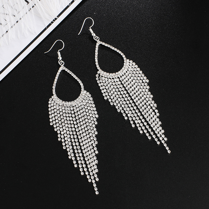 Rhinestone Detail Silver Tassel Design Earrings