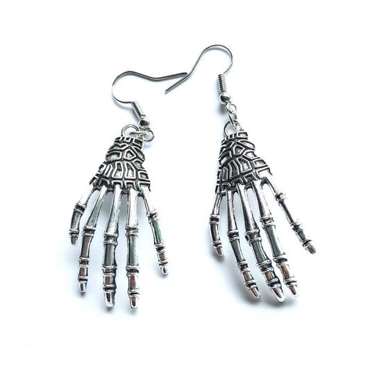 Halloween Skeleton Hand Metal Detail Earrings