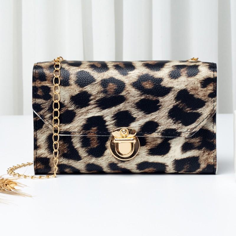 Leopard PU Gold Chain CrossBody Messenger Bag