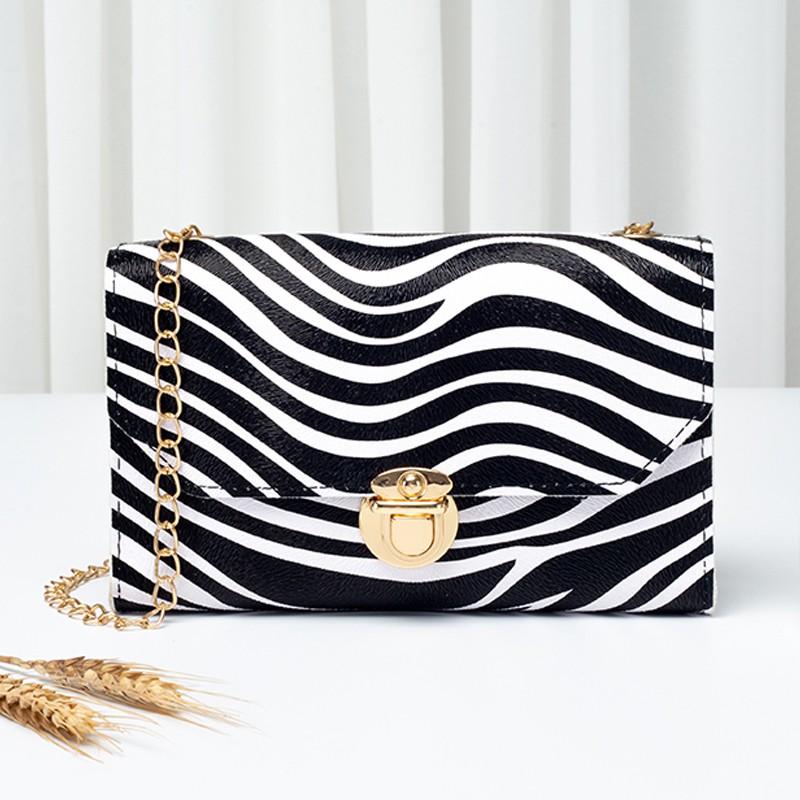 Zebra Print Gold Chain PU CrossBody Messenger Bag