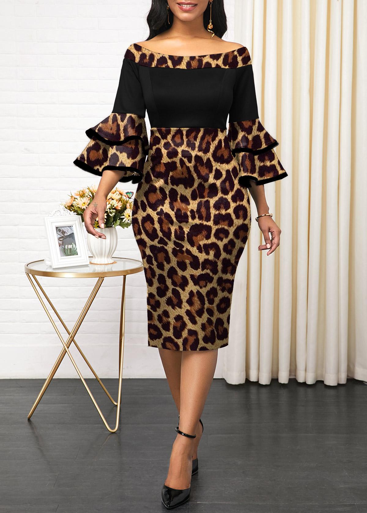 Leopard Off Shoulder Layered Bell Sleeve Dress