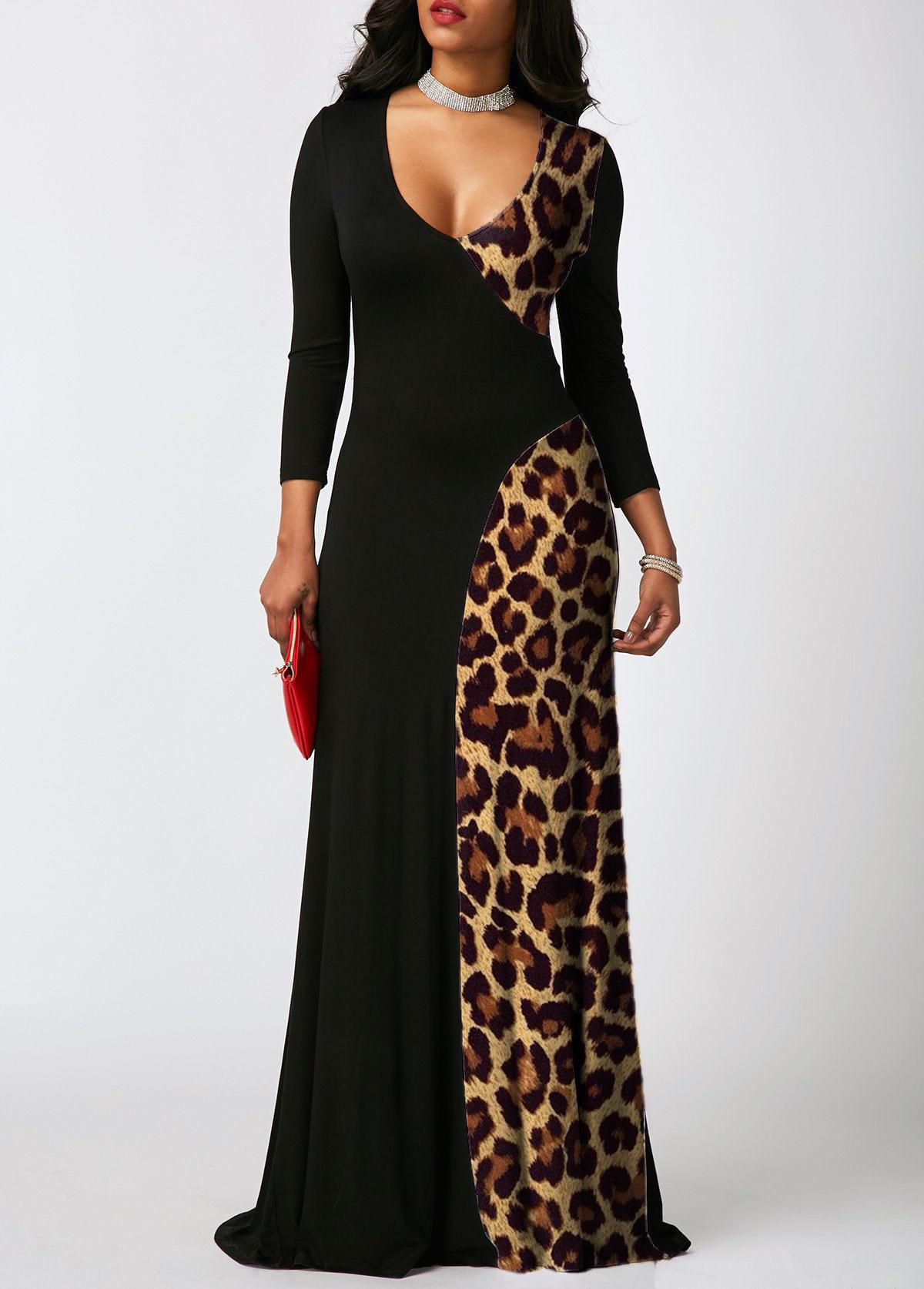 Leopard Contrast 3/4 Sleeve Maxi Dress
