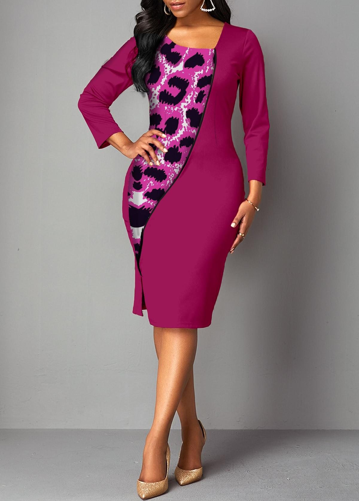 Leopard Asymmetrical Neck Contrast Bodycon Dress