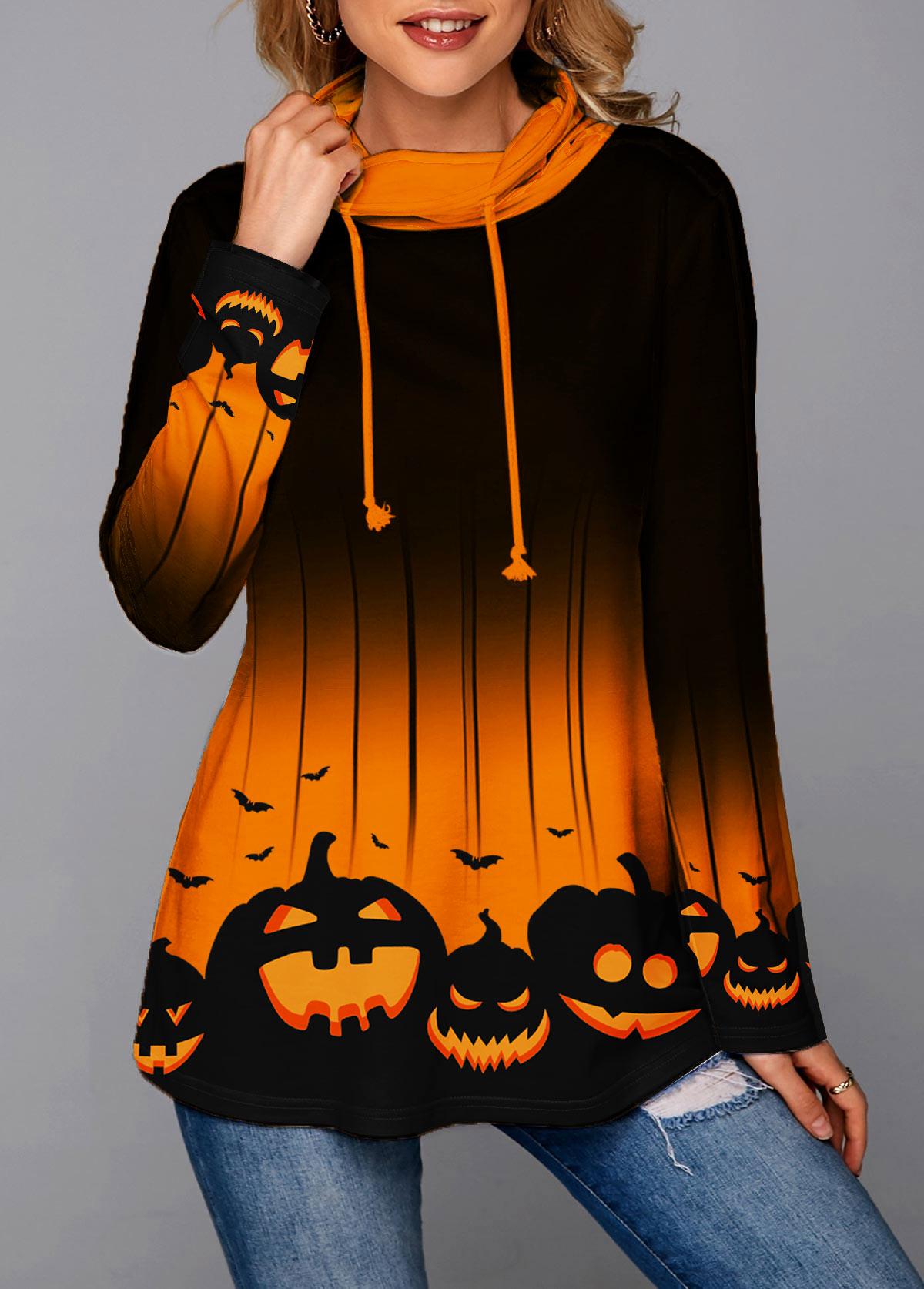 Cowl Neck Halloween Pumpkin Print Long Sleeve Sweatshirt