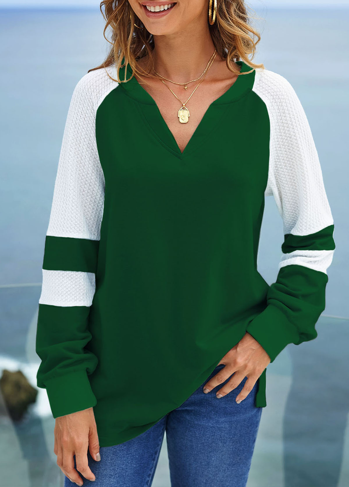 Split Neck Long Sleeve Contrast Sweatshirt