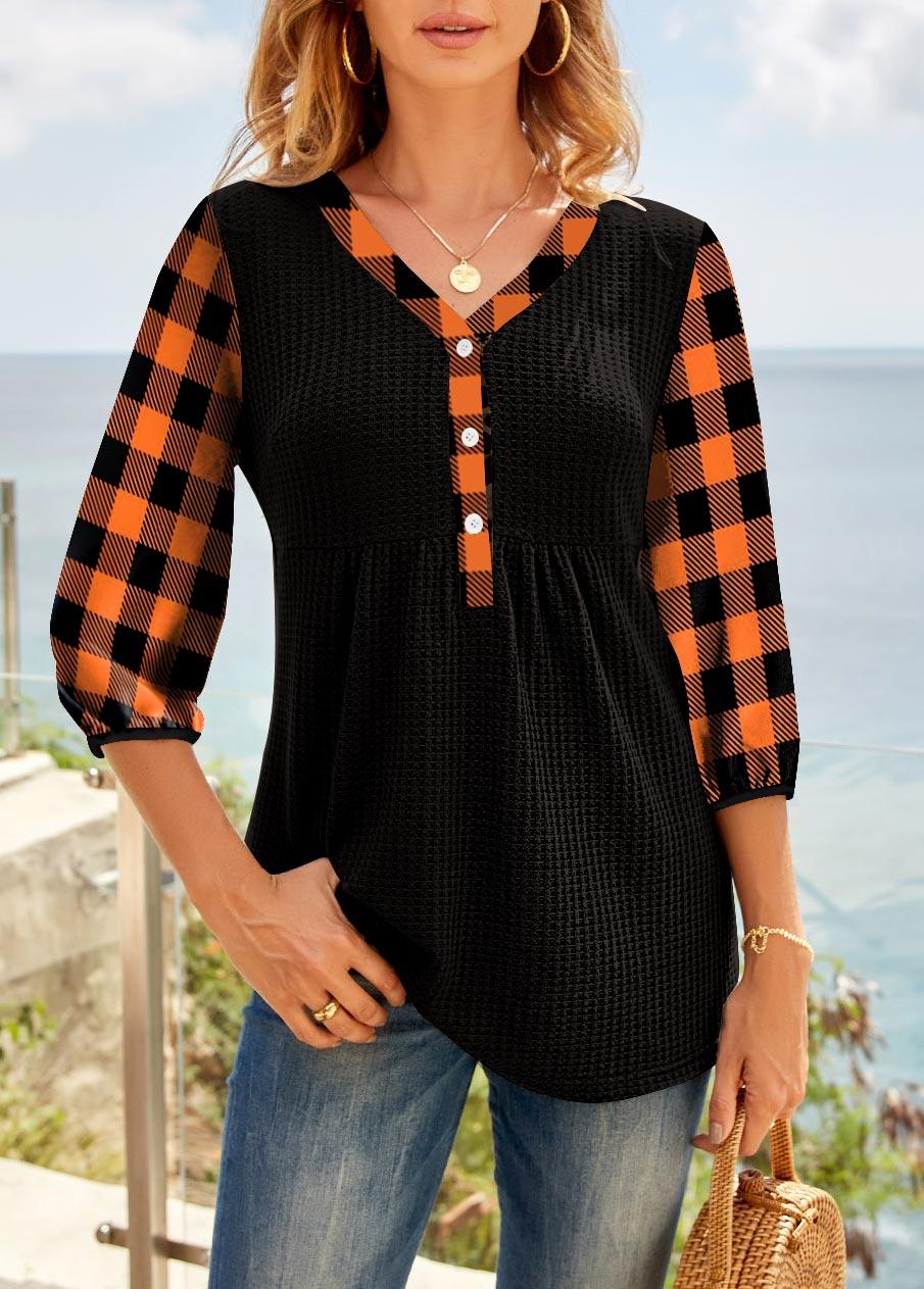 Plaid Shirred 3/4 Sleeve V Neck Tunic Top