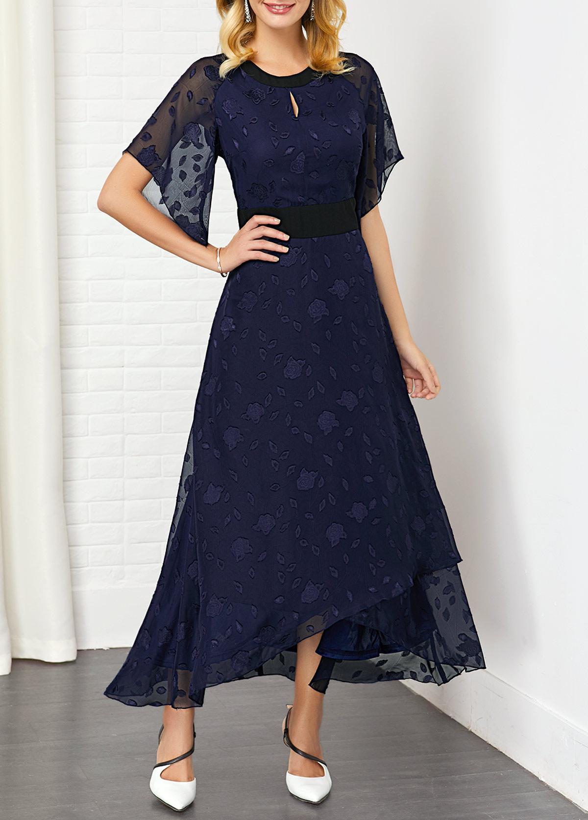 Asymmetric Hem Solid Keyhole Front Dress