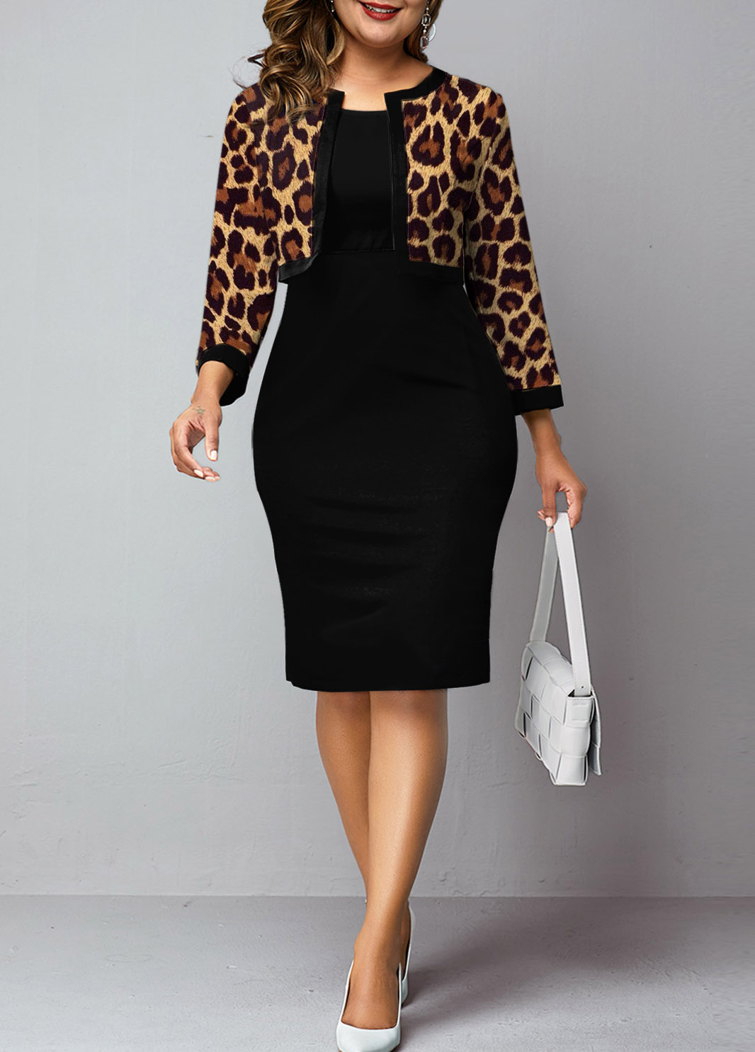 Plus Size Leopard Cardigan and Solid Dress