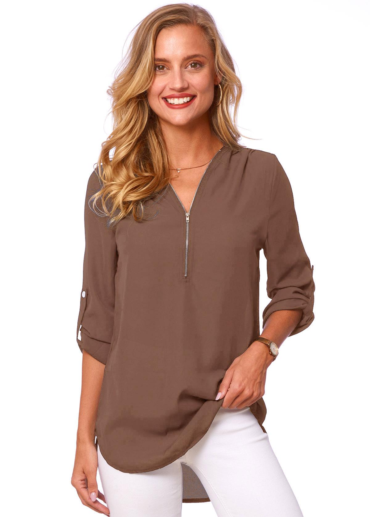 V Neck Quarter Zip Solid T Shirt