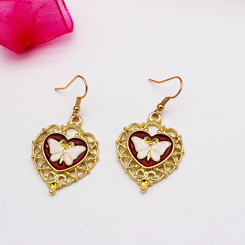 Gold Butterfly Detail Heart Design Earrings