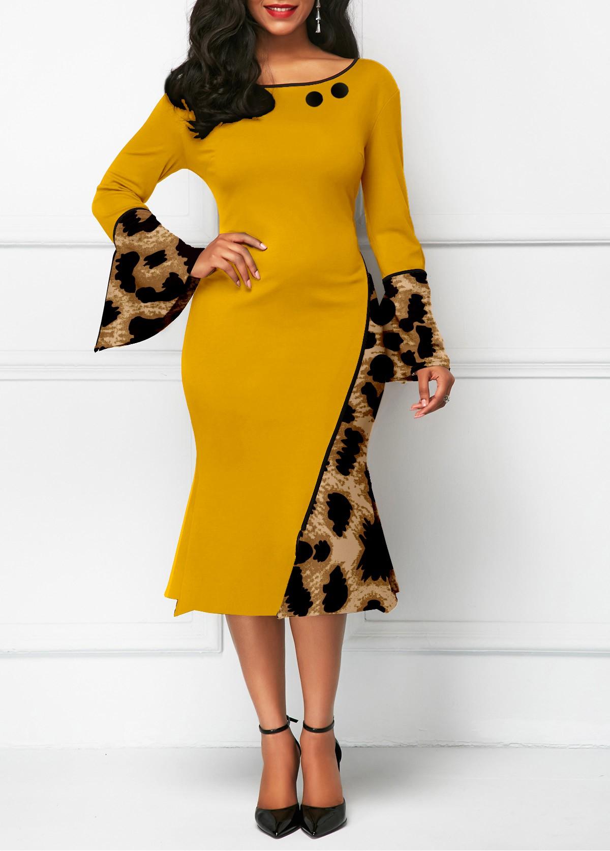 Flare Sleeve Leopard Round Neck Mermaid Dress