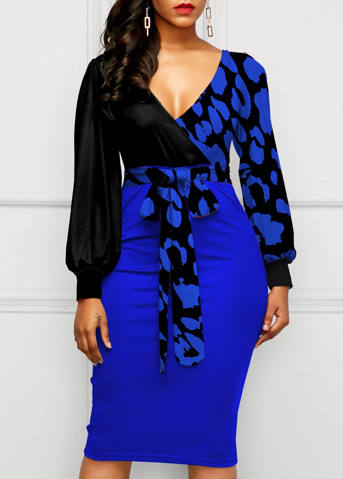 Leopard Lantern Sleeve Bowknot Bodycon Dress