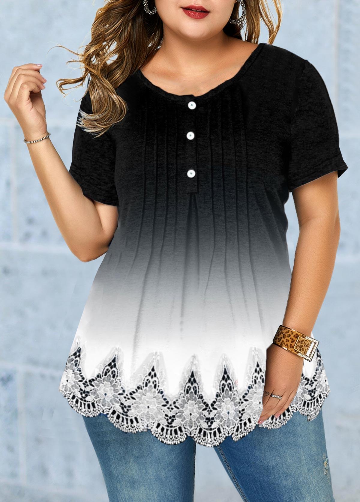 Lace Patchwork Plus Size Round Neck T Shirt