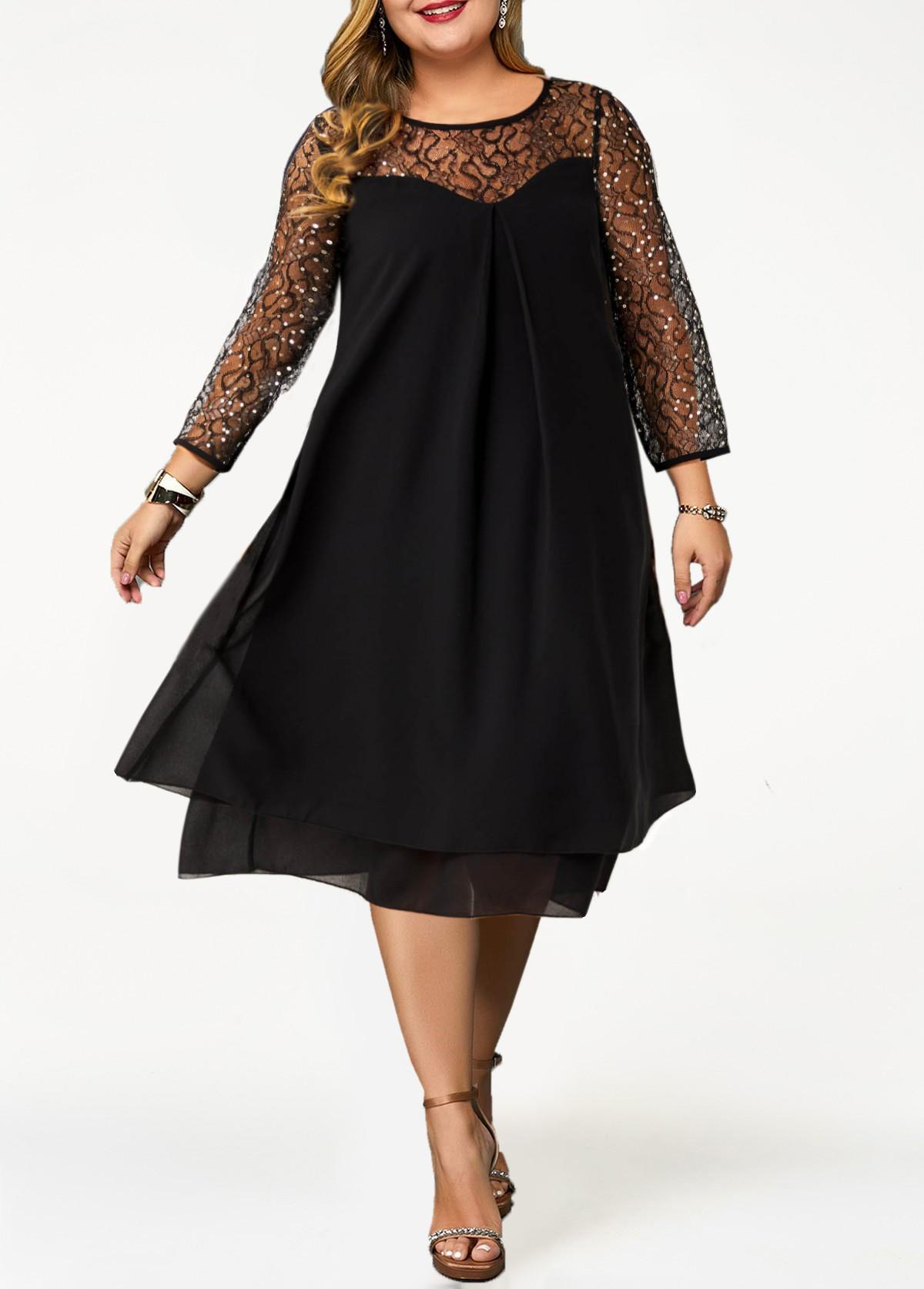 Plus Size Round Neck Sequin 3/4 Sleeve Dress