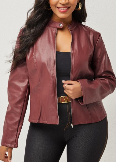 Long Sleeve Solid Jacket, Zipper Closure Long Sleeve Solid Jacket