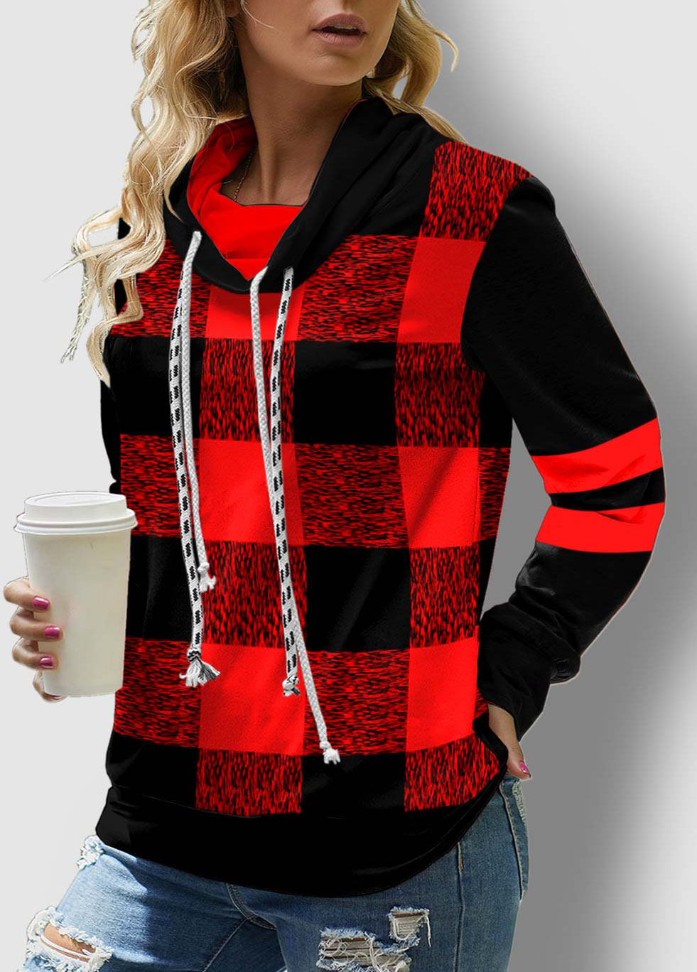 Plaid Drawstring Neck Contrast Long Sleeve Sweatshirt