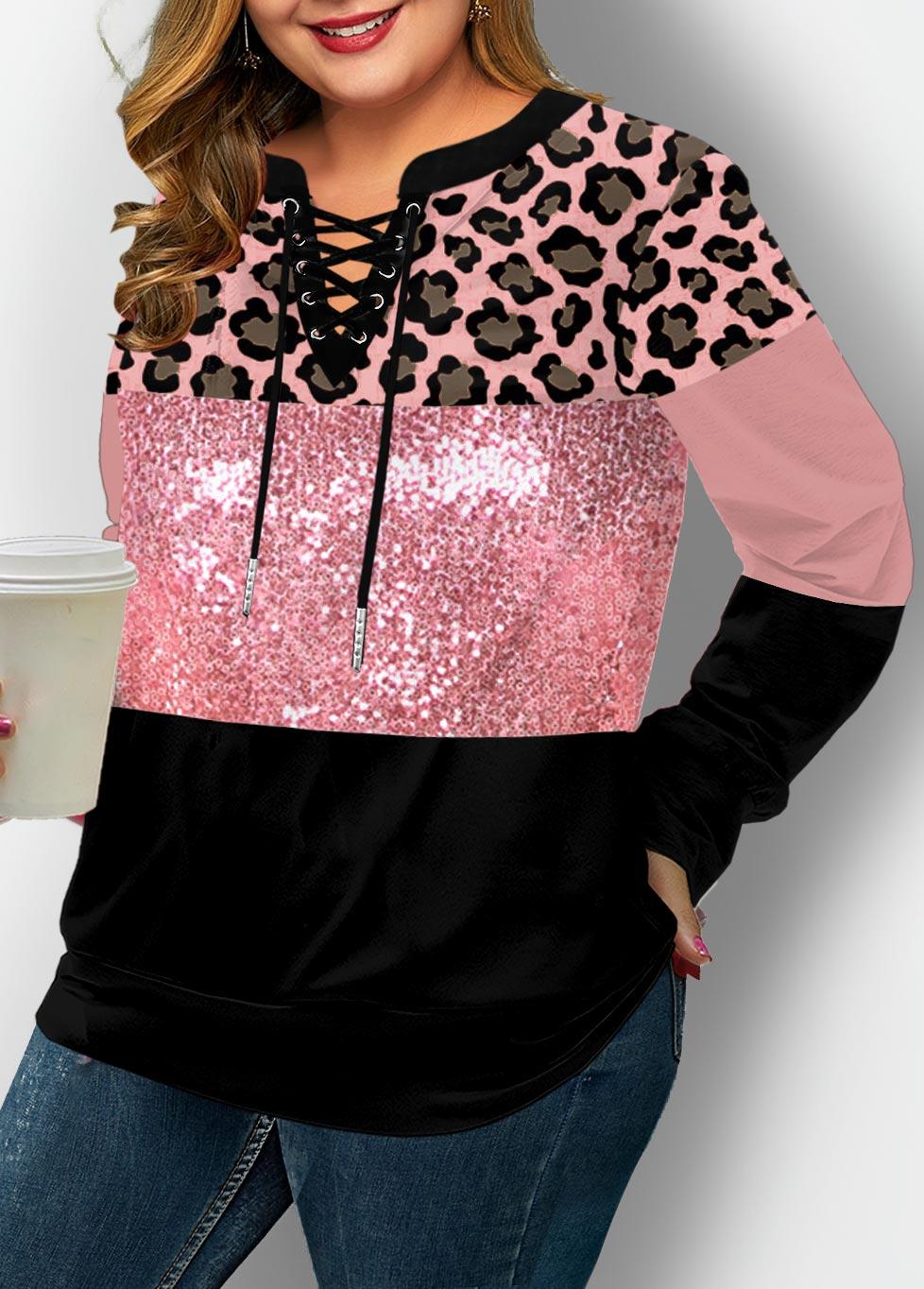 Plus Size Lace Up Leopard Sequin Panel Sweatshirt