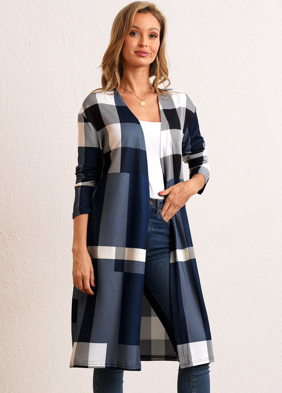 Plaid Open Front Long Sleeve Cardigan