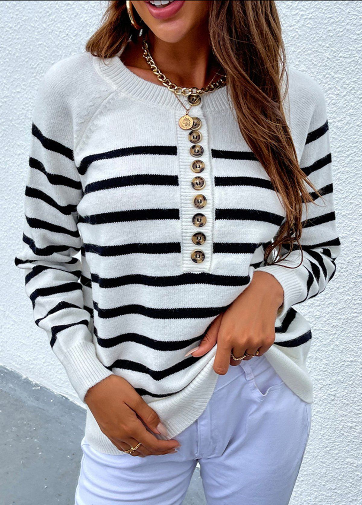 Button Detail Striped Long Sleeve Round Neck Sweater