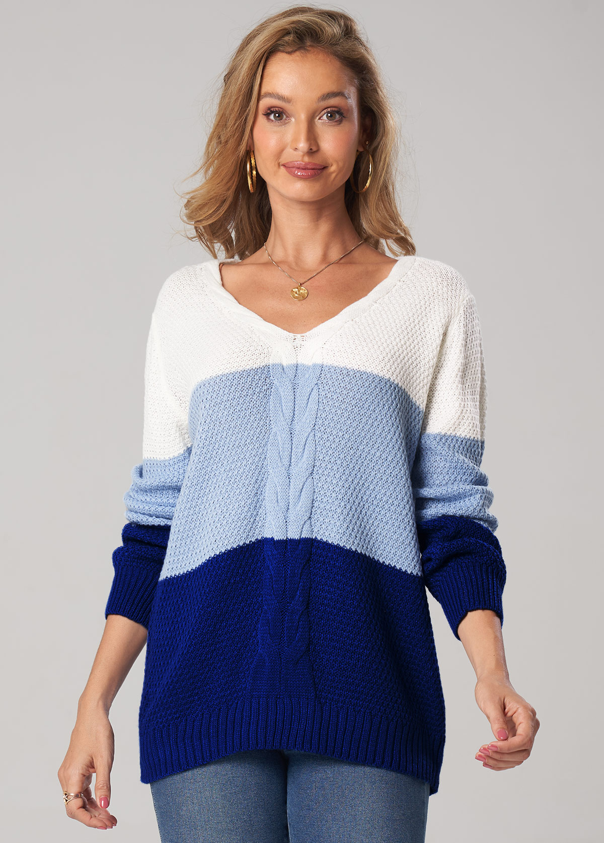 Twisted Patchwork Long Sleeve V Neck Sweater
