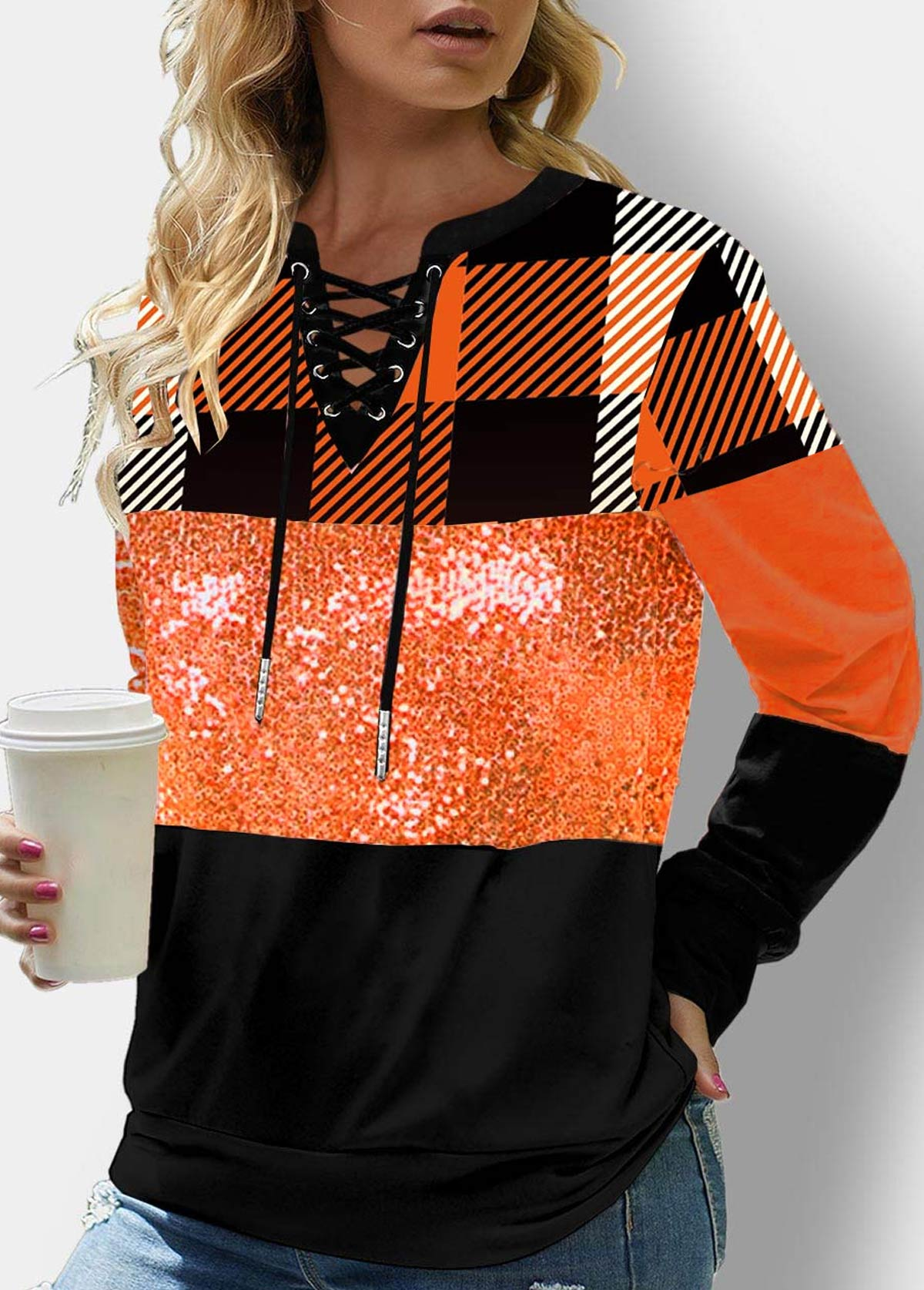 Plaid Orange Lace Up Sequin Sweatshirt