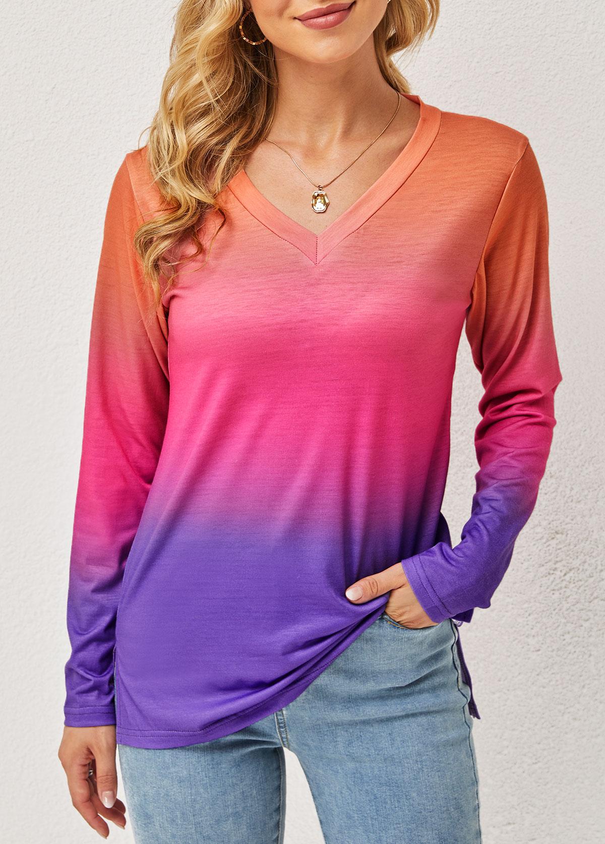 Ombre Long Sleeve V Neck T Shirt