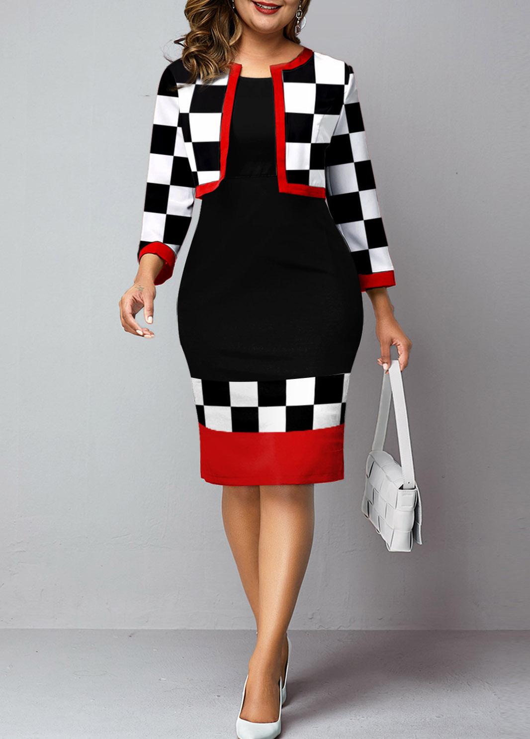 Two Piece Plus Size Checkerboard Pattern Dress