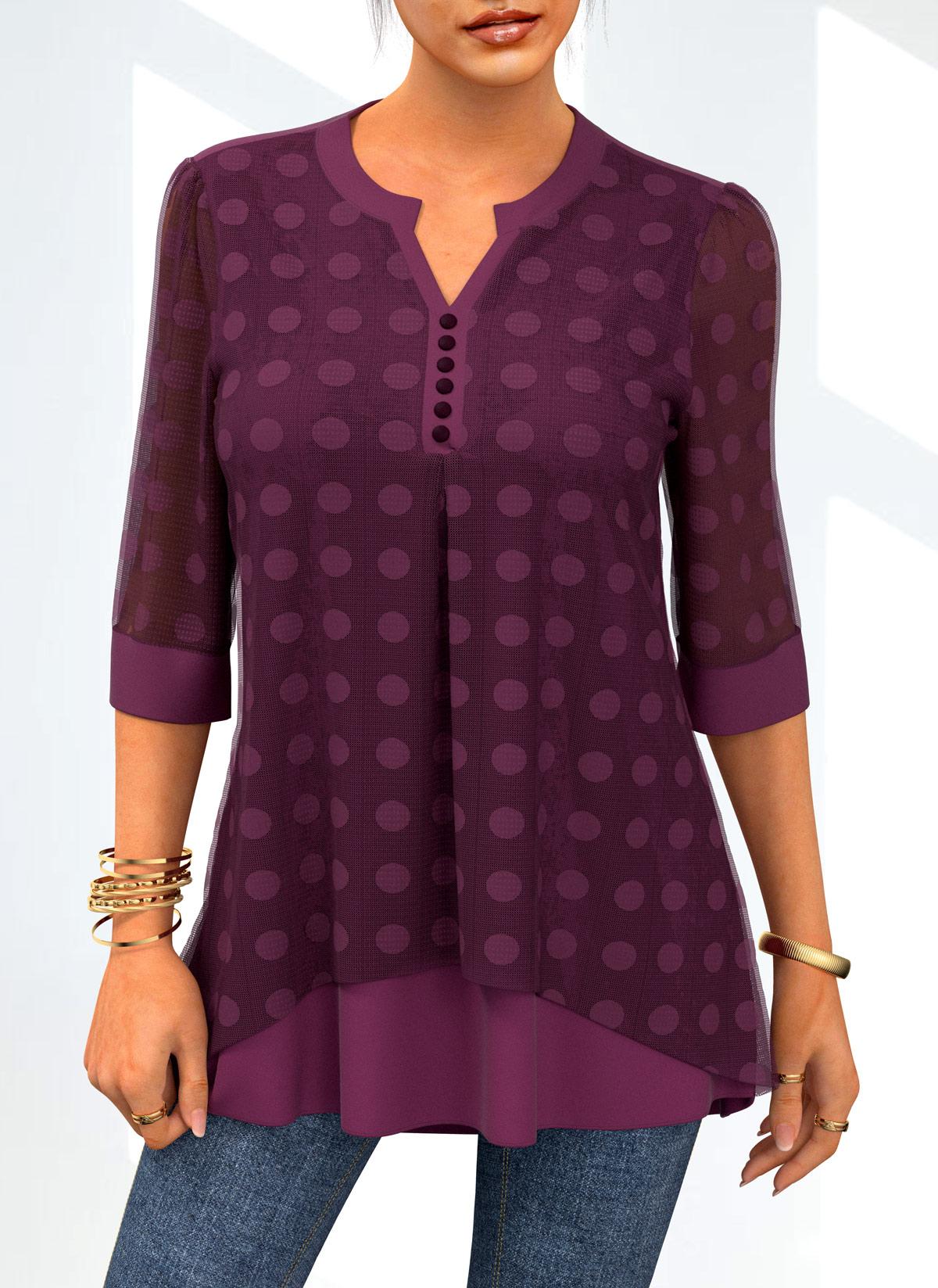 Lace Stitching Layered Polka Dot Blouse