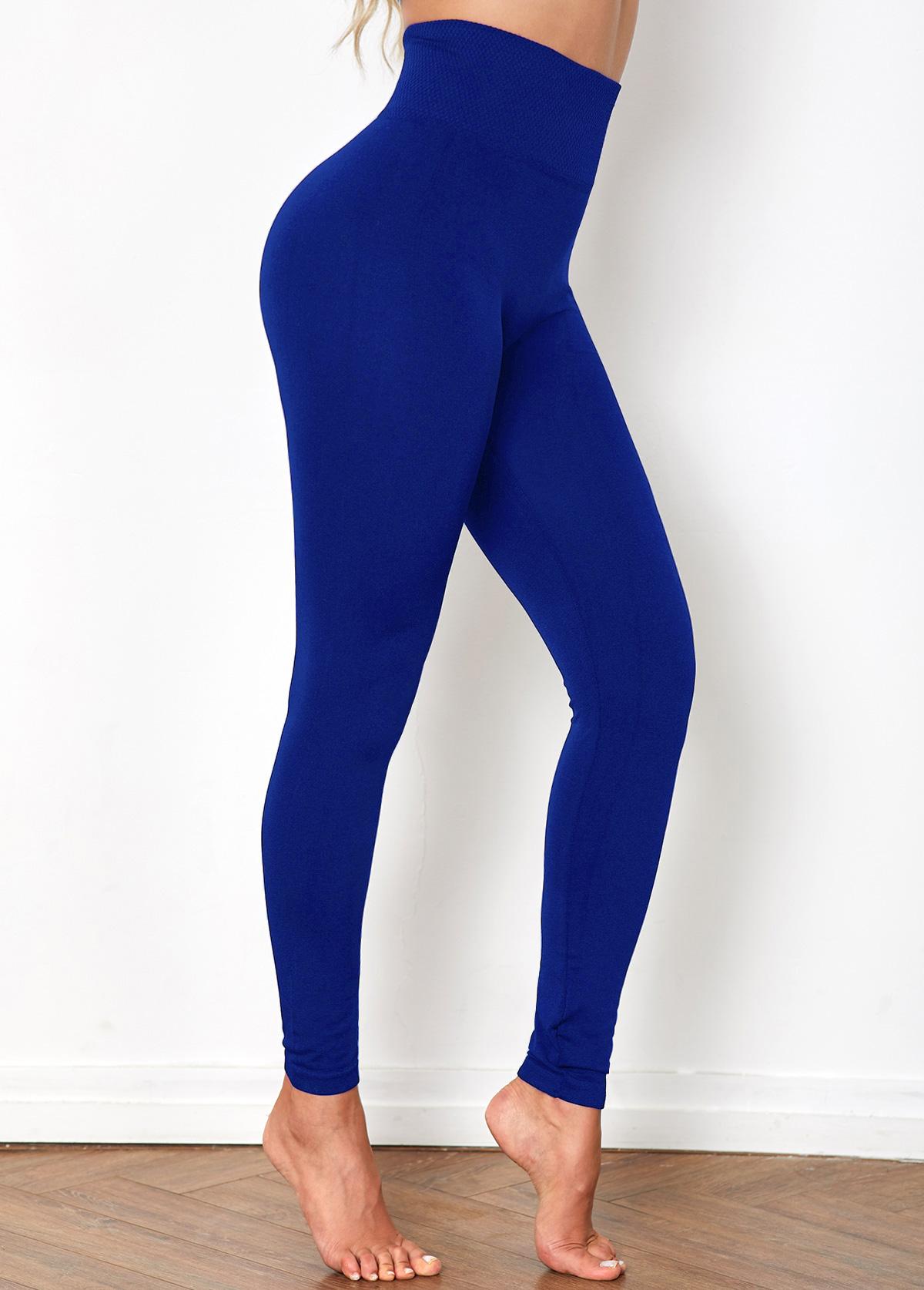 High Waist Solid Skinny Elastic Detail Legging