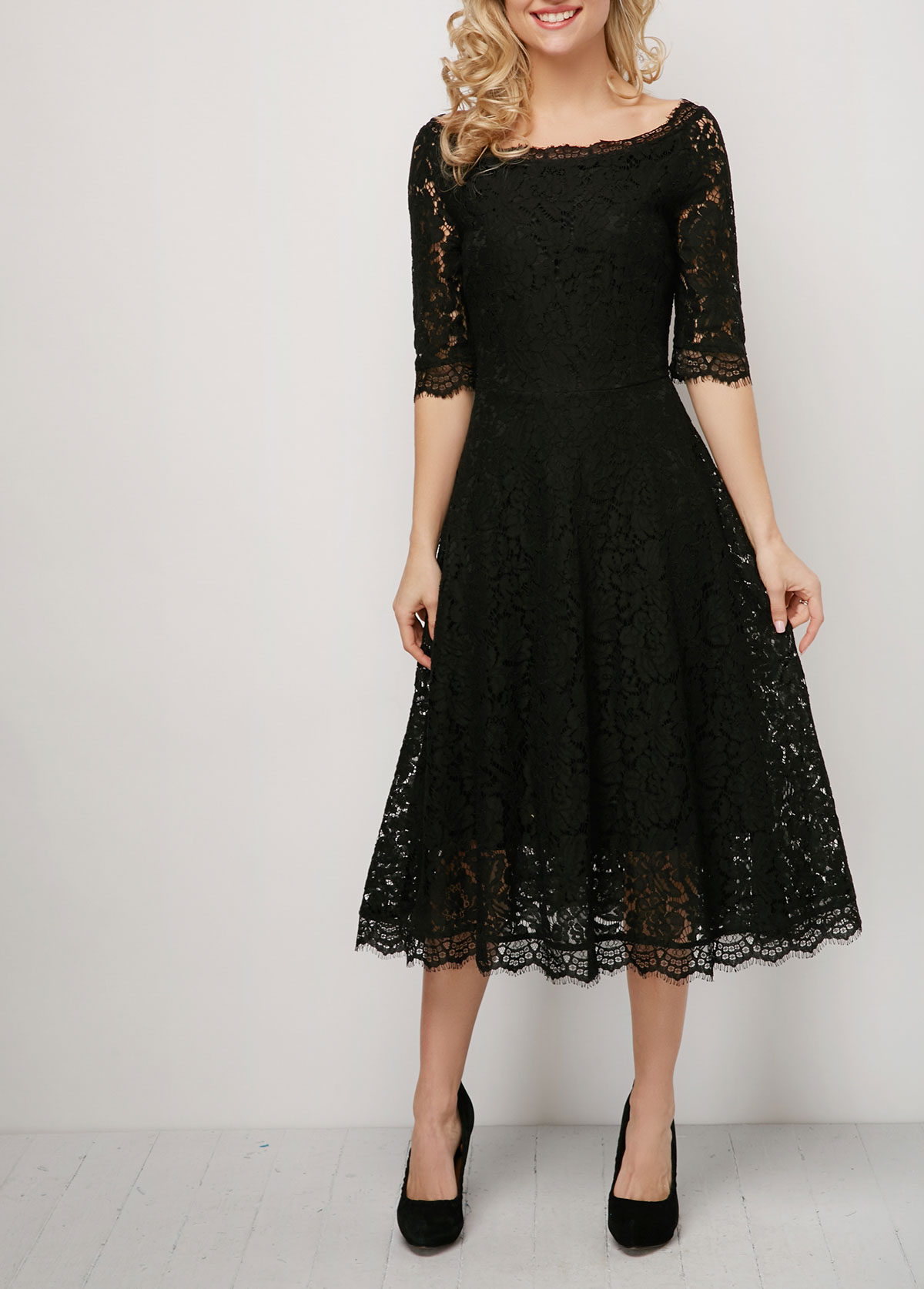 Lace Patchwork Solid 3/4 Sleeve Dress