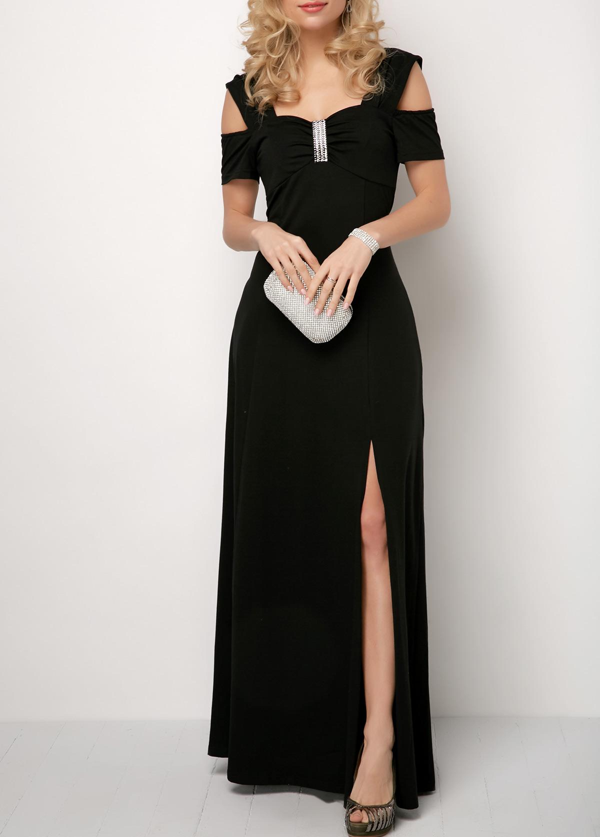 Cold Shoulder Side Slit Rhinestone Dress