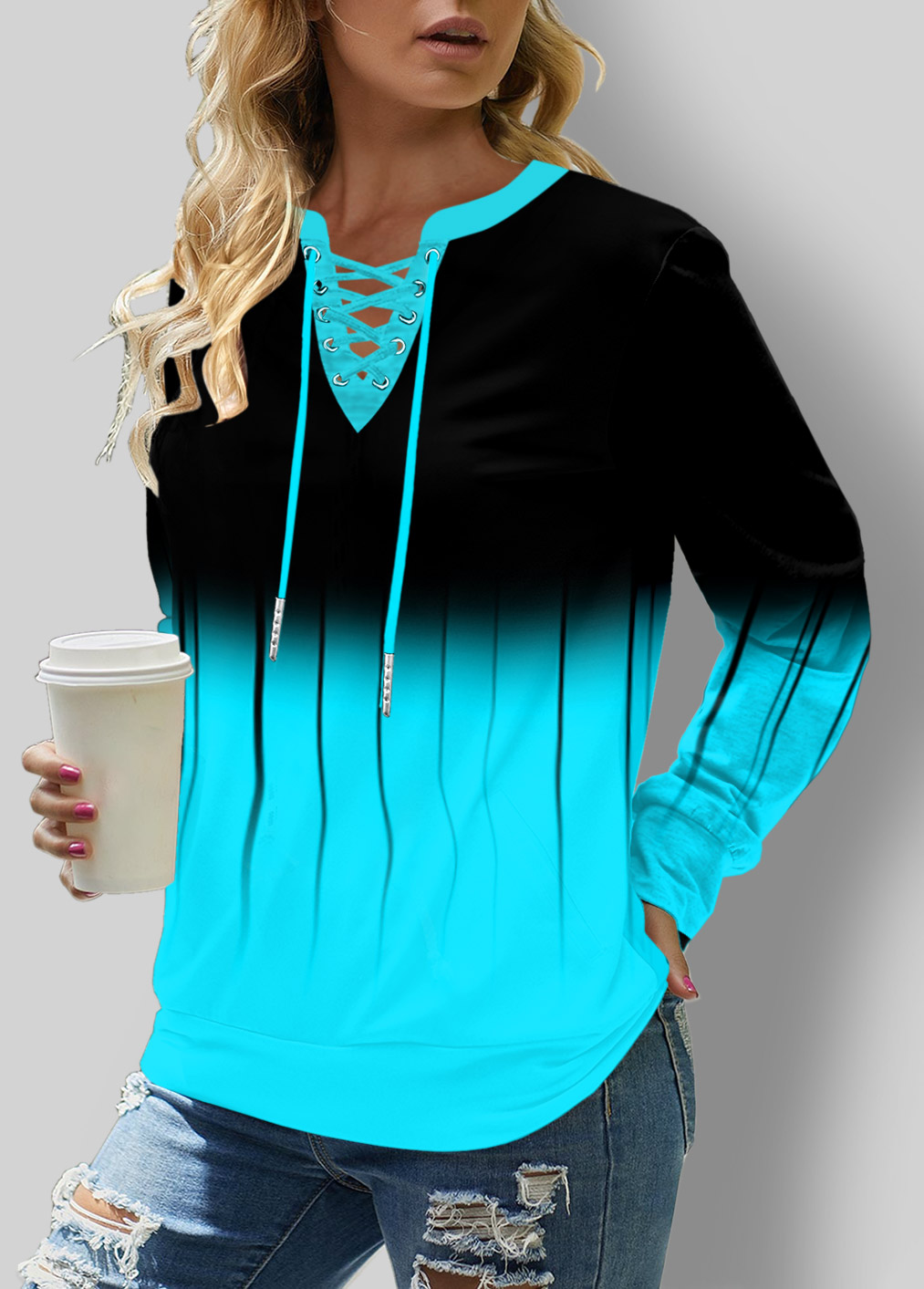 Ombre Lace Up Long Sleeve Sweatshirt