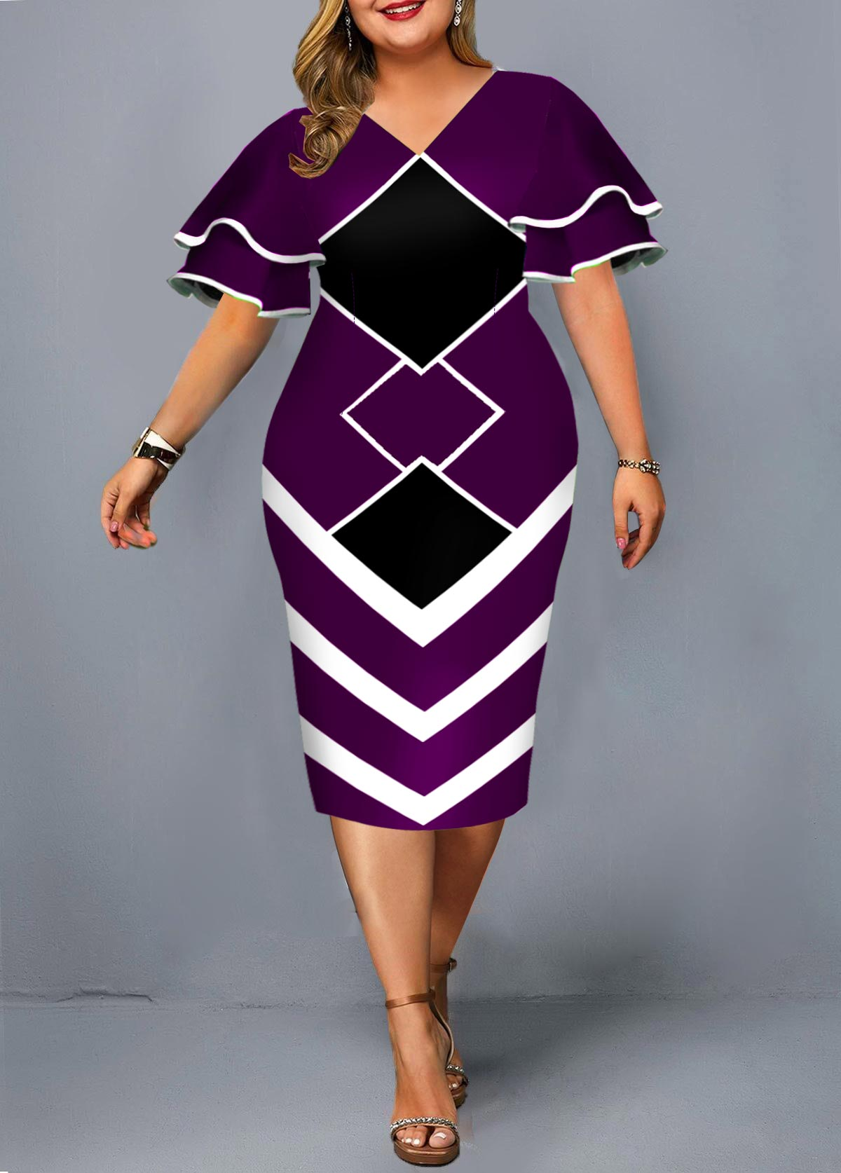 Plus Size Geometric Print Layered Bell Sleeve Dress