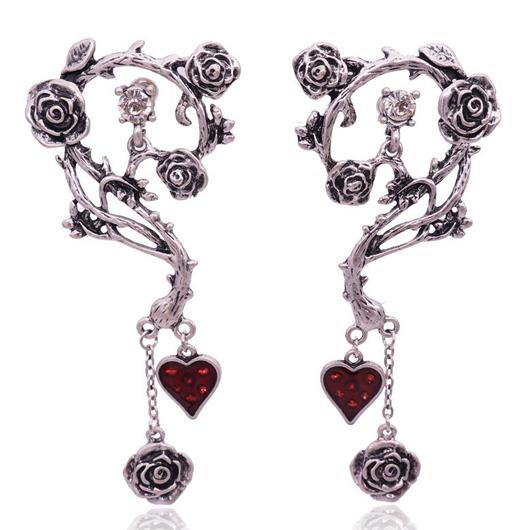 Rose Design Heart Detail Metal Earring Set