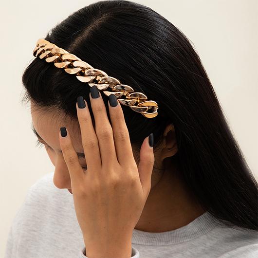 Chain Design Gold Metal Detail Headband