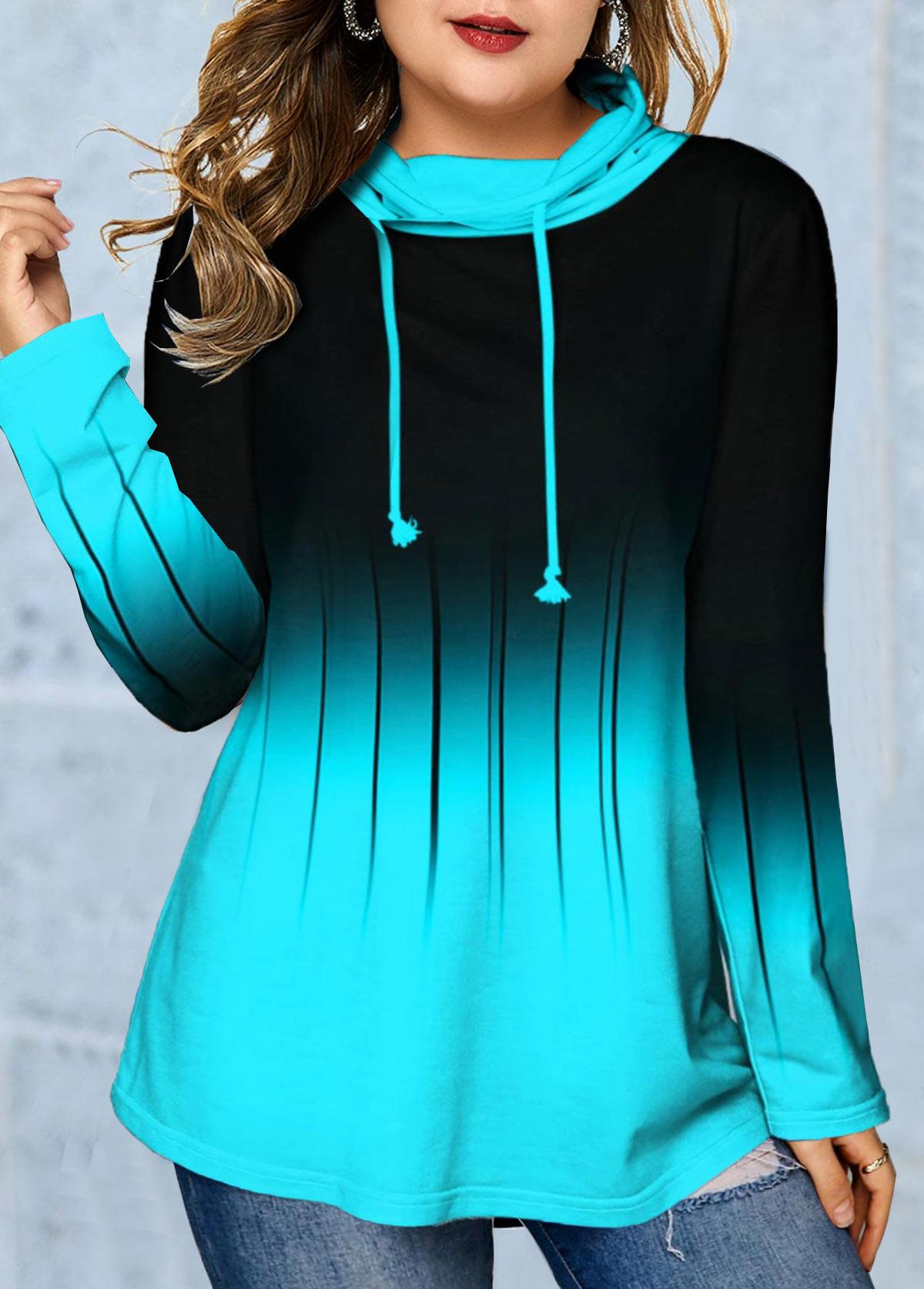 Plus Size Ombre Cowl Neck Long Sleeve Sweatshirt