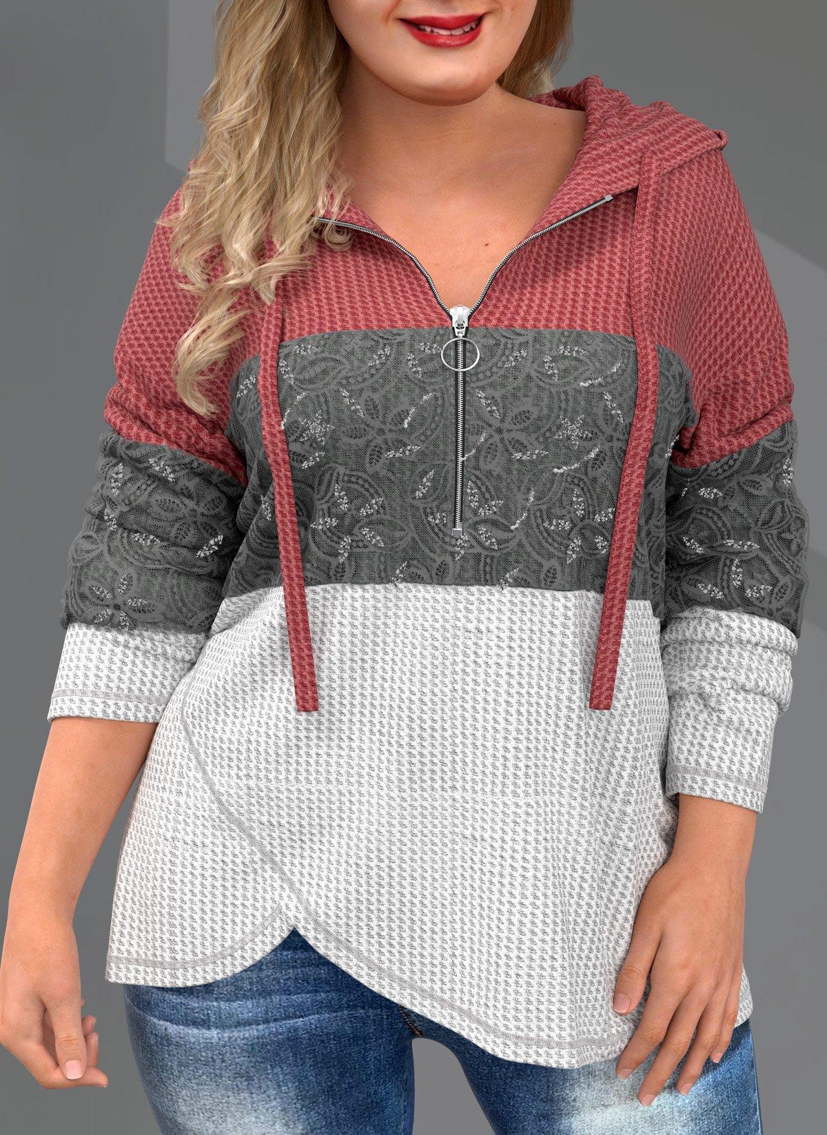 Quarter Zip Drawstring Plus Size Lace Stitching Hoodie