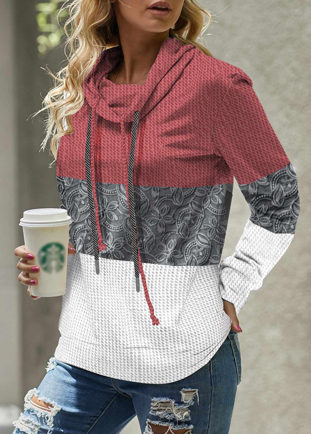 Waffle Knit Cowl Neck Drawstring Lace Stitching Sweatshirt