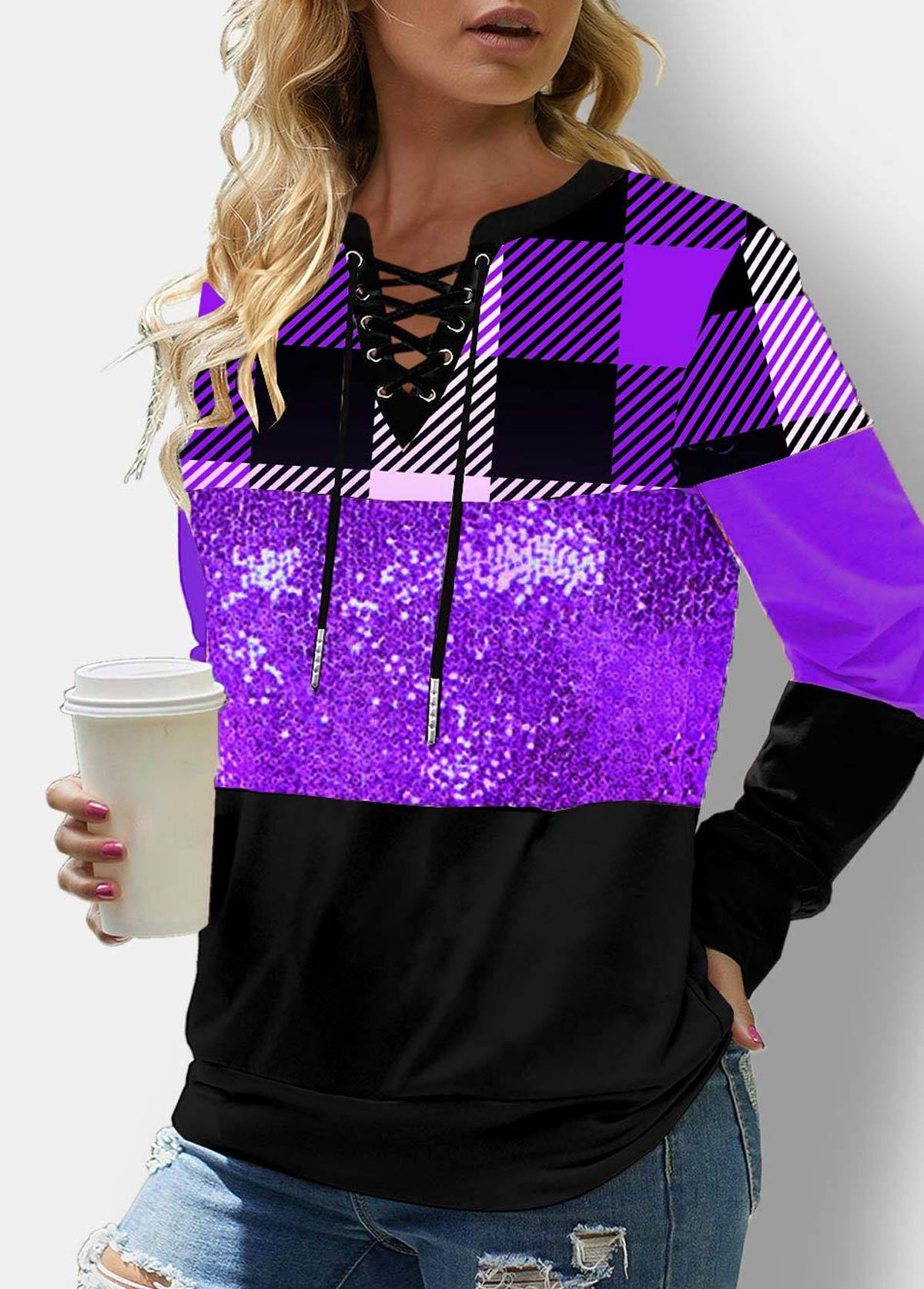 Lace Up Sequin Long Sleeve Plaid Sweatshirt