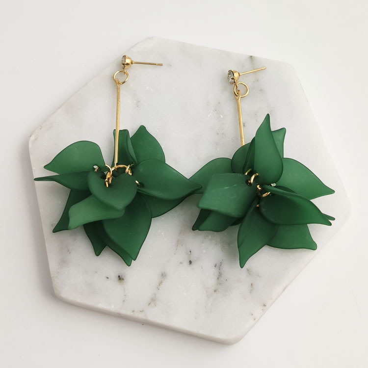 Green Layered Floral Design Earring Set