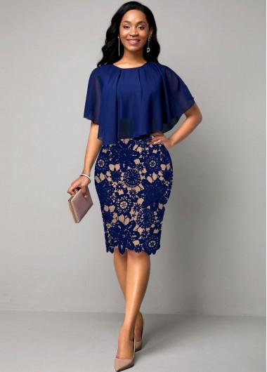 2 In 1 Women's Dresses On Sale, Lace Panel Cape Sleeve Navy Blue Dress