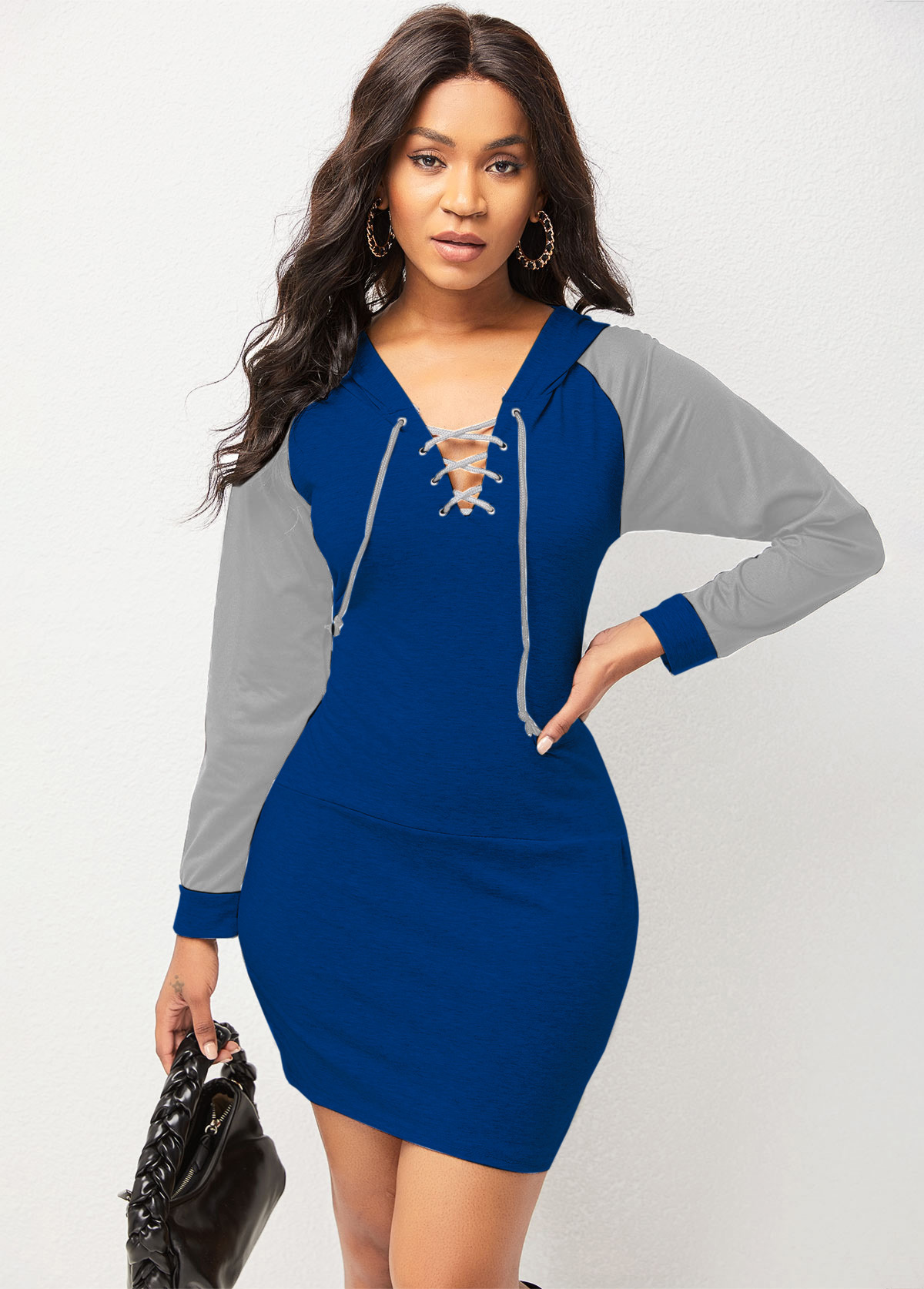 Lace Up Hooded Collar Long Sleeve Bodycon Dress